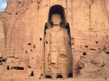 West Buddha surrounded by caves, c. 6th-7th c C.E., stone, stucco, paint, 175 feet high, Bamiyan, Afghanistan, destroyed 2001